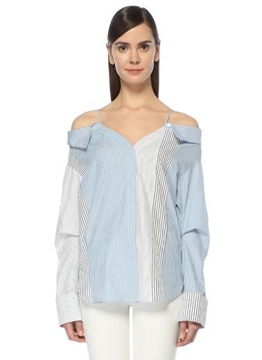 Mo&Co İnce Askılı Çizgili Gömlek Mavi